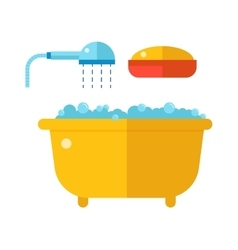 Beautiful bath with shower and soap cartoon flat vector