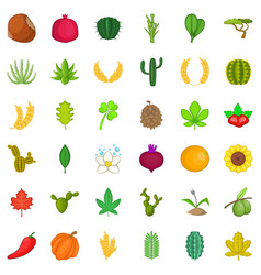 Botany icons set cartoon style vector