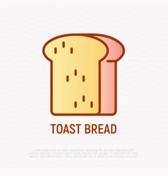 bread toast thin line icon vector image