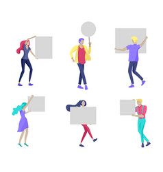 Business people moving dancing and holding blank vector