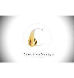 C golden letter design brush paint stroke gold vector