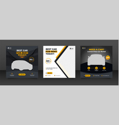 Car rental promotion social media post banner vector