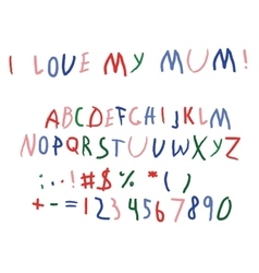 child bascript letters font hand writing vector image