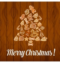 Christmas tree poster of cookies buscuits vector