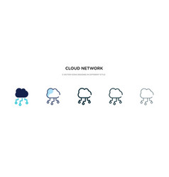 cloud network icon in different style two vector image