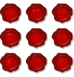 Collection of wax seals vector