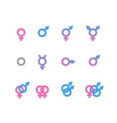 Colorful gender symbol and identity icons isolated vector
