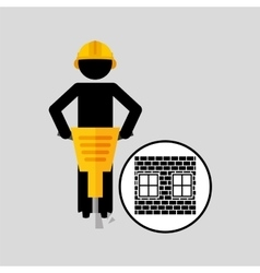 construction brick worker jackhammer graphic vector image