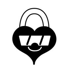 Contour happy heart padlock kawaii with sunglasses vector