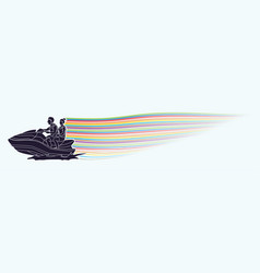 couple riding jet ski vector image