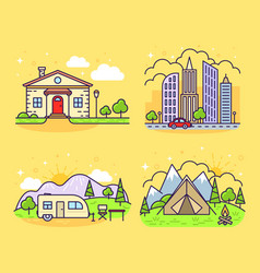 cute line icons vector image