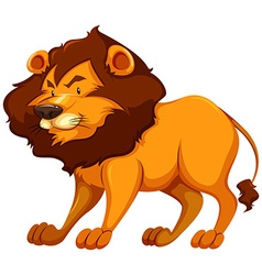 Cute lion standing alone vector