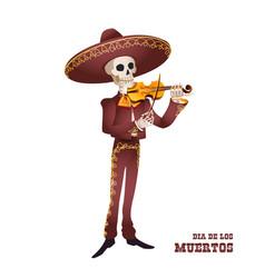 dia de muertos mariachi musician skeleton violin vector image