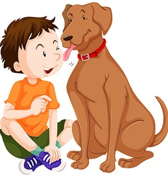 Dog licking boy on face vector