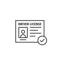 Driver license black thin line icon vector