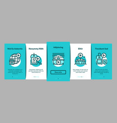 Duty free shop store onboarding elements icons set vector