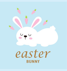 easter card with cute bunny and carrots vector image