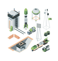 equipment cosmodrome isometric big set vector image