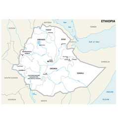 Ethiopia administrative and political map vector