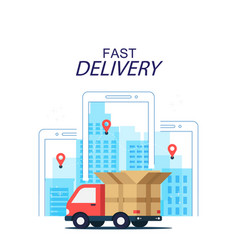 fast delivery concept truck mobile background vect vector image