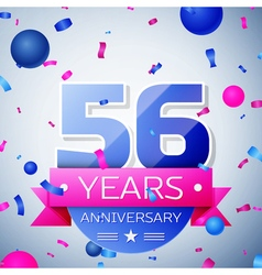 Fifty six years anniversary celebration on grey vector image