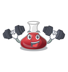 Fitness character glass decanter with red wine vector