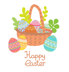 flat basket with easter eggs and plants vector image