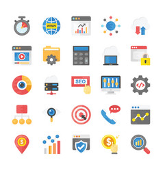 Flat icons seo and marketing pack vector