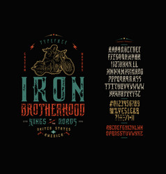 font iron brotherhood craft retro vintage typeface vector image