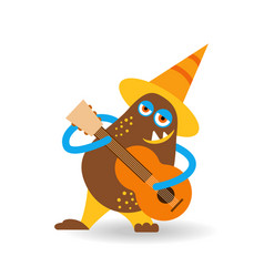 funny cartoon monster in hat with guitar vector image