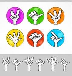 gestures of cartoon human hand vector image