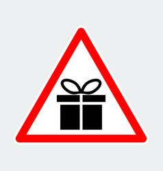 Gift box warning triangle road sign vector