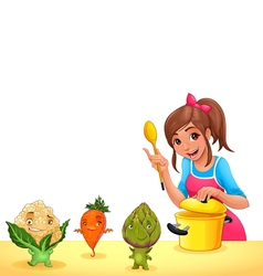 Girl is cooking with three funny vegetables vector