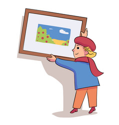 Glad little boy artist hanging picture on wall vector