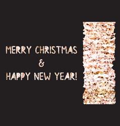 golden glitter foil text on black background vector image
