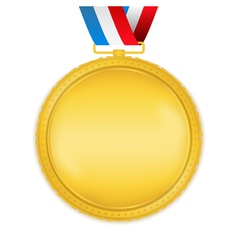 Golden Medal with Ribbon vector