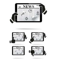 Hands holding tablet pc with news vector image