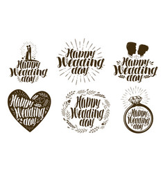 happy wedding day label set married couple love vector image