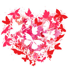Heart made of spray and butterflies vector