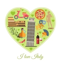 I love Italy Italy travel background with place vector