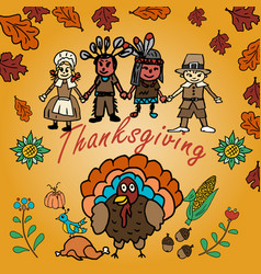 In the style 1 of childrens drawing thanksgiving vector