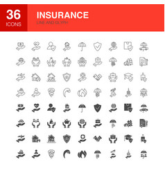 Insurance line web glyph icons vector