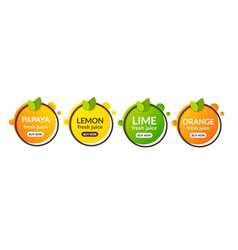 juice fresh fruit label icon orange lemon lime vector image