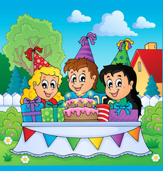 Kids party theme image 3 vector