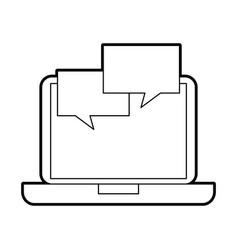laptop with speech bubble communication dialog vector image
