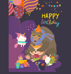 Little girl celebrating birthday with her friends vector