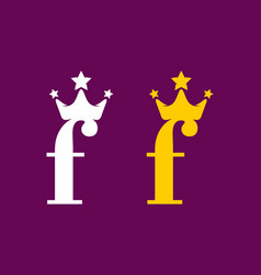 lowercase f initial letter with crown white vector image