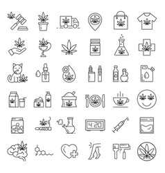 marijuana icons set medical cannabis icons vector image