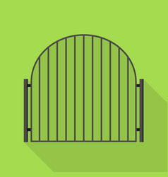 Metal gate icon flat style vector