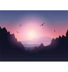 Mountain and trees landscape vector image